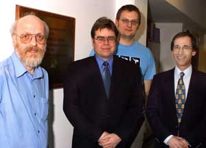 Photo: From left to right: Dr Andrew Hutt, Dr Andrew Kicman, Thomas Bassindale (PhD Student), Professor David Cowan